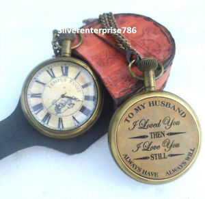 Antique Brass Clock to My Husband '' I Love You | Brass  Pocket Watch Gift
