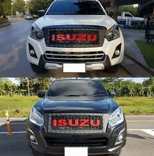 Fit For Isuzu D-Max 16-18 Matte Black Front Grille Grill Red Logo With Nut