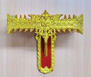 NEW Vintage Gold Red Shrine 11 inches Wood Buddha Shelf Wall Buddhist Display