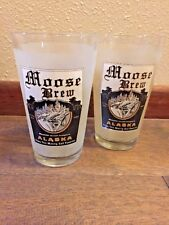 Moose Brew Rutting Beer Collectible Frosted Pint Glass - set of 2 - Alaska