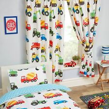 "TRUCKS AND TRANSPORT FULLY LINED CURTAINS CARS DIGGERS TRACTORS 66"" x 72"""