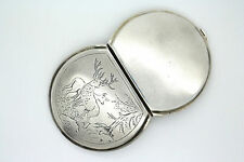 Russian Silver Compact powder box Vintage 1950s Deer / Forrest scene Soviet USSR