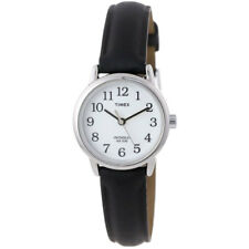 Timex Womens Wrist Watch Easy Reader Black Leather Strap Band, Silver Case