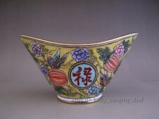Rare Chinese Copper enamel Color Gold-Plated Ingots Bowl incense burner Mark