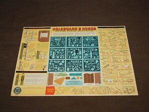 "VINTAGE WORKSHOP 16 1/4"" X 11"" 1955 CHEVROLET HOLEBOARD & HOOKS WALL CHART"
