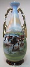 Antique Porcelain Cattle Vase large cow steer bulls double handled decorative