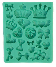 Crown bow Heart Silicone Mould Mold  Fimo Sugarcraft Cupcake Toppers Cake decor