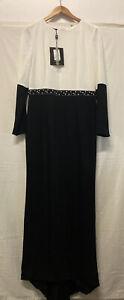 Tagged Carla Ruiz Dress Occasion Party Style Black & White Maxi Size 14 (.003)