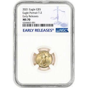 2021 American Gold Eagle Type 2 1/10 oz $5 - NGC MS70 Early Releases