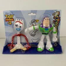 """Disney Pixar Toy Story 4 Forky and Buzz 7"""" Figures Flextreme NIB Mattel"""