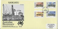 L3189 VANUATU 1982 AUSTRALIAN BICENTENA OFFICIAL FDC PORT BOAT SHIP NAVIGATION