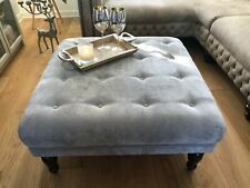 ⭐ NEW  LARGE  FOOTSTOOL BUTTONED  VELVET GREY FREE DELIVERY