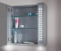 LED ILLUMINATED BATHROOM MIRROR CABINET-SHAVER-BOTTOM AMBIENT LIGHTING DEFECTED