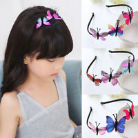 Kids Girls Hair Hoop Band Solid Butterfly Headband Headwear Hairband Accessories