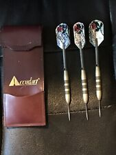 Vintage Accudart Steel Tip Dart Set (3) With Leather Pouch And Flights