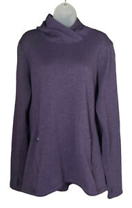 Old Navy Active Hoodie Tunic Size L Tall Purple Zipper Pockets Thumb Holes