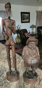 """HUGE 24"""" Don Quixote and 15"""" Sancho carved hand Wood Sculptures Mexico/Spain"""