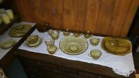 Federal Glass Amber Yellow Madrid Dish Set of 25 Pieces 8 CUPS AND SAUCERS PLATE