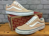 VANS LADIES OLD SKOOL NUDE WHITE SUEDE CANVAS SUEDE TRAINERS VARIOUS SIZES T