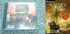 anno 1404 gold  NEW&SEALED & anno 1602 creation of a new world USED JEWEL CASE