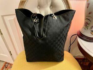 GUCCI ECLIPSE BLACK Monogram Signature GG  & Leather Bucket Tote Purse Bag XL