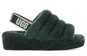 NWOB UGG Women's Size 6 Fluff Yeah Slide Slippers in Highland Green $100
