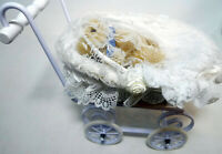 Vintage Baby White Wicker Buggy Wheels Metal Teddi Bear Lace Hamilton Collection