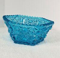 "Vintage Aqua Blue Pressed Glass Candy Dish Bowl 5.25"""
