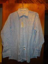 Michael Kors Mens Striped White Cotton Dress Shirt XL NWT