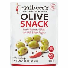 Mr Filberts Olive Snacks Pitted Green Olives with Chilli & Blackpepper - 65g