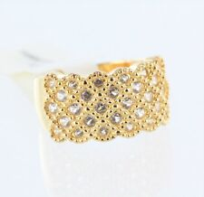 18K Yellow Gold over Stainless Steel White Sapphire Ring Size 7