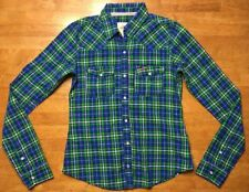 Hollister Women's Blue, Green & White Plaid Long Sleeve Dress Shirt - Size: XS
