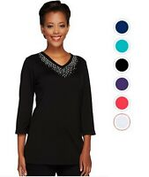 QUACKER FACTORY Embellished 3/4 Sleeve Tunic Top Many Sizes 290210RM