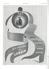 ▬► PUBLICITE ADVERTISING AD PARFUM PERFUME Jeanne LANVIN Arpège, My Sin, Scandal