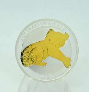 1/2  OZ Silber Koala 2012 mit Goldapplikation gilded Lagerräumung