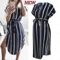 Summer Women Mom Maternity Pregnancy Party Beach Dress Stripe Dresses Clothes UK