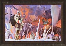 YELLOWSTONE by Roy Kerswill 24x34 FRAMED PRINT Native American Hunter Bear Bison