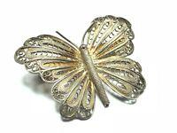 Vintage Antique .925 Sterling Silver Butterfly Filigree Pin / Brooch - Patina!