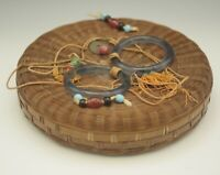 CHINESE ANTIQUE BAMBOO SEWING BASKET BOX WITH LID GLASS RINGS BEADS AND COIN