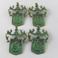 Green Bronze Pattern Badge Alloy Pendants Charms Crafts Findings 20pcs 52004