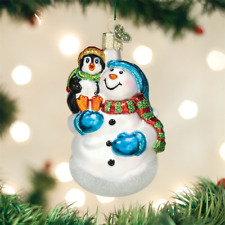 OLD WORLD CHRISTMAS SNOWMAN WITH PENGUIN PAL GLASS CHRISTMAS ORNAMENT 24181
