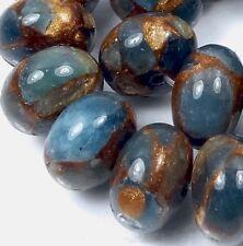 12x8mm Aquamarine Quartz with Pyrite / Gold Vein Rondelle Beads (23)