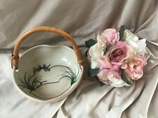 """Vintage Japanese Ceramic Hand Painted Heart Shaped Bowl 7"""" Bamboo Handle Signed"""