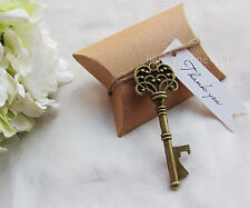 50*Kraft Paper Pillow Box Gift Tag Skeleton Key Bottle Openers Wedding Favors