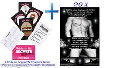BRIDE TO BE SECRETS REVEALED GAME AND 20 PERSONALISED HENS NIGHT INVITATIONS