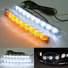 AUDI STYLE DRL 9 LED LIGHTS WHITE BRIGHT FOG STRIPS UNITS GRILL DAYTIME RUNNING