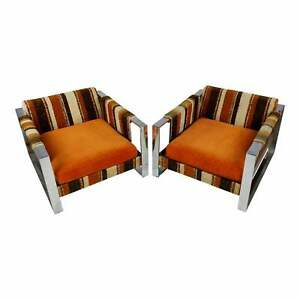 Adrian Pearsall 1970s vintage Upholstered chrome Chairs -a Pair