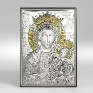 Icona argento Sacra quadretto Madonna Gesù quadro Maria oro Czestochowska