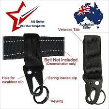 Black Velcrose Nylon Tactical Hanging Belt Carabiner Key Hook Ring Holder.  keys