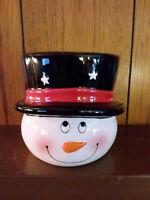 Edible Arrangements Resemble Frosty Snowman Head Hat Vase Bowl Christmas Ceramic